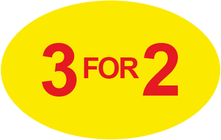 3 for 2 Special Offer Oval Labels