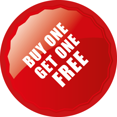 Buy One Get One Free Round Labels With Shine Detail