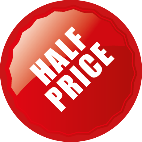 Half Price Round Labels With Shine Detail