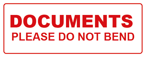 Document Do Not Bend Rectangle Label