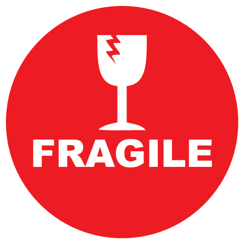 Fragile Please Handle with Care Glass Round Shipping Labels