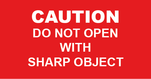Caution Sharp Object Rectangle Labels