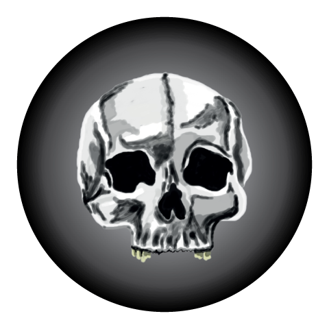 Grey Gradient Skull Halloween Themed Stickers