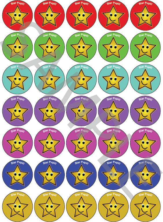 Star Pupil Reward Stickers Mixed Colour