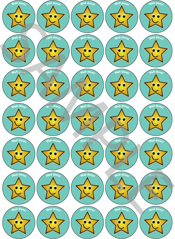 Well Done Reward Stickers Blue